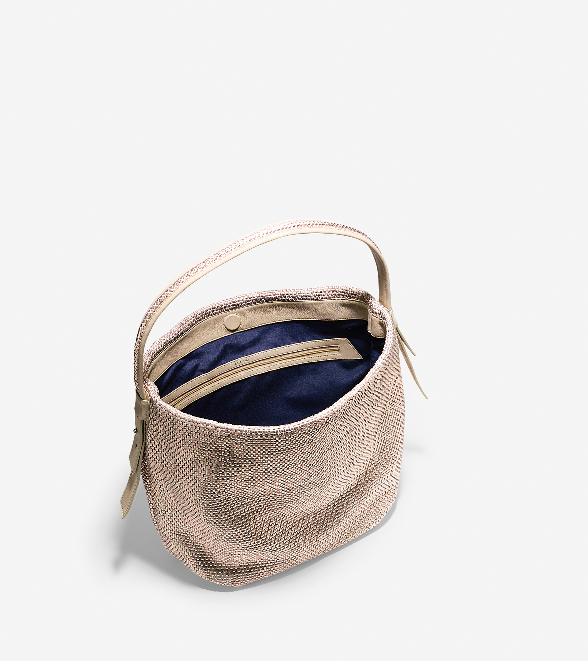 d55313f0c76 Lyst - Cole Haan Bethany Weave Large Bucket Hobo in Natural