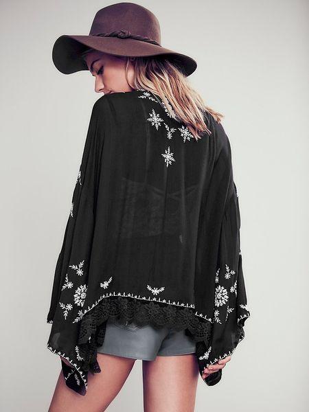 Embroidered Kimono Jacket | makaroka.com