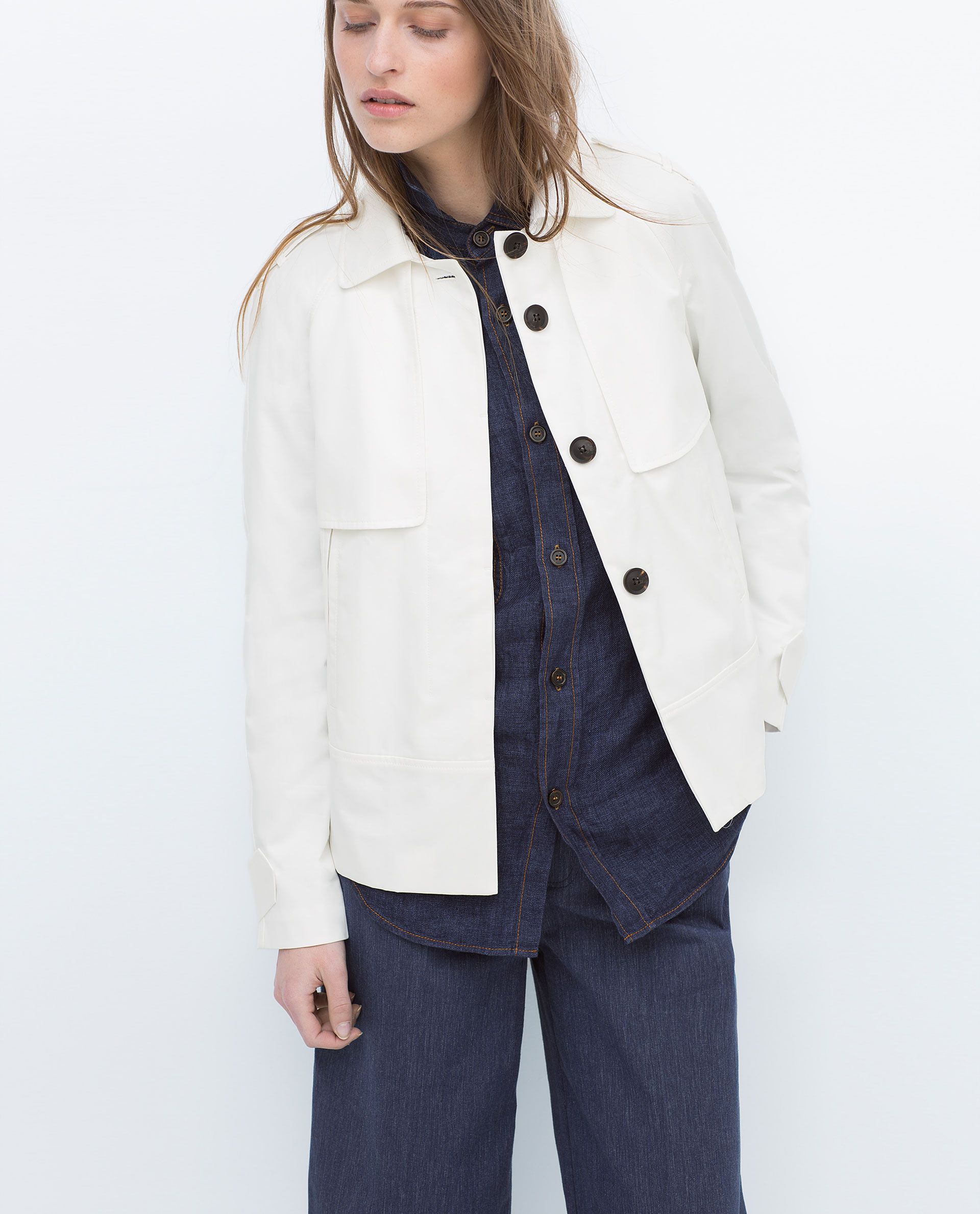 Zara Short Coat Short Coat in White | Lyst