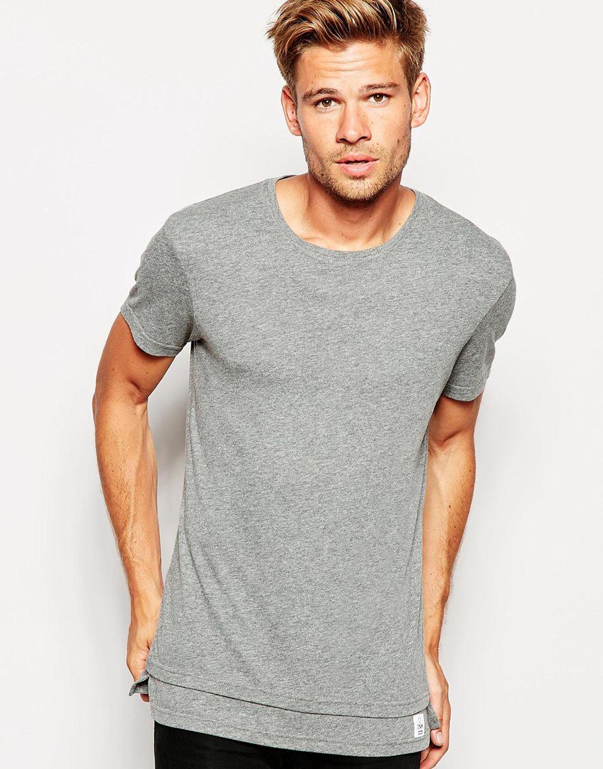 lyst esprit longline oversized t shirt in gray for men. Black Bedroom Furniture Sets. Home Design Ideas