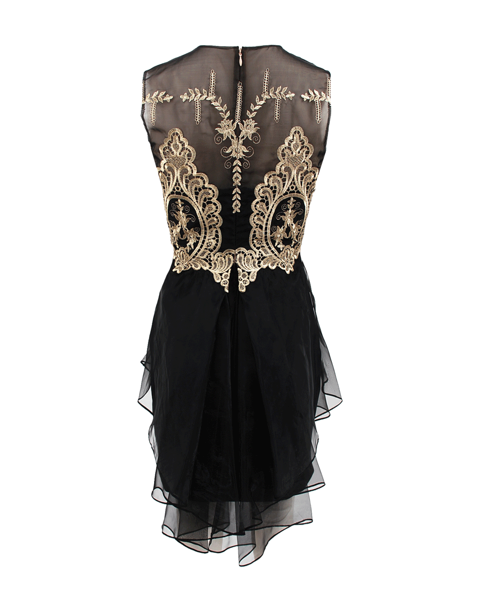 502f008b77 Marchesa notte Sleeveless Gold Lace Cocktail Dress in Black - Lyst