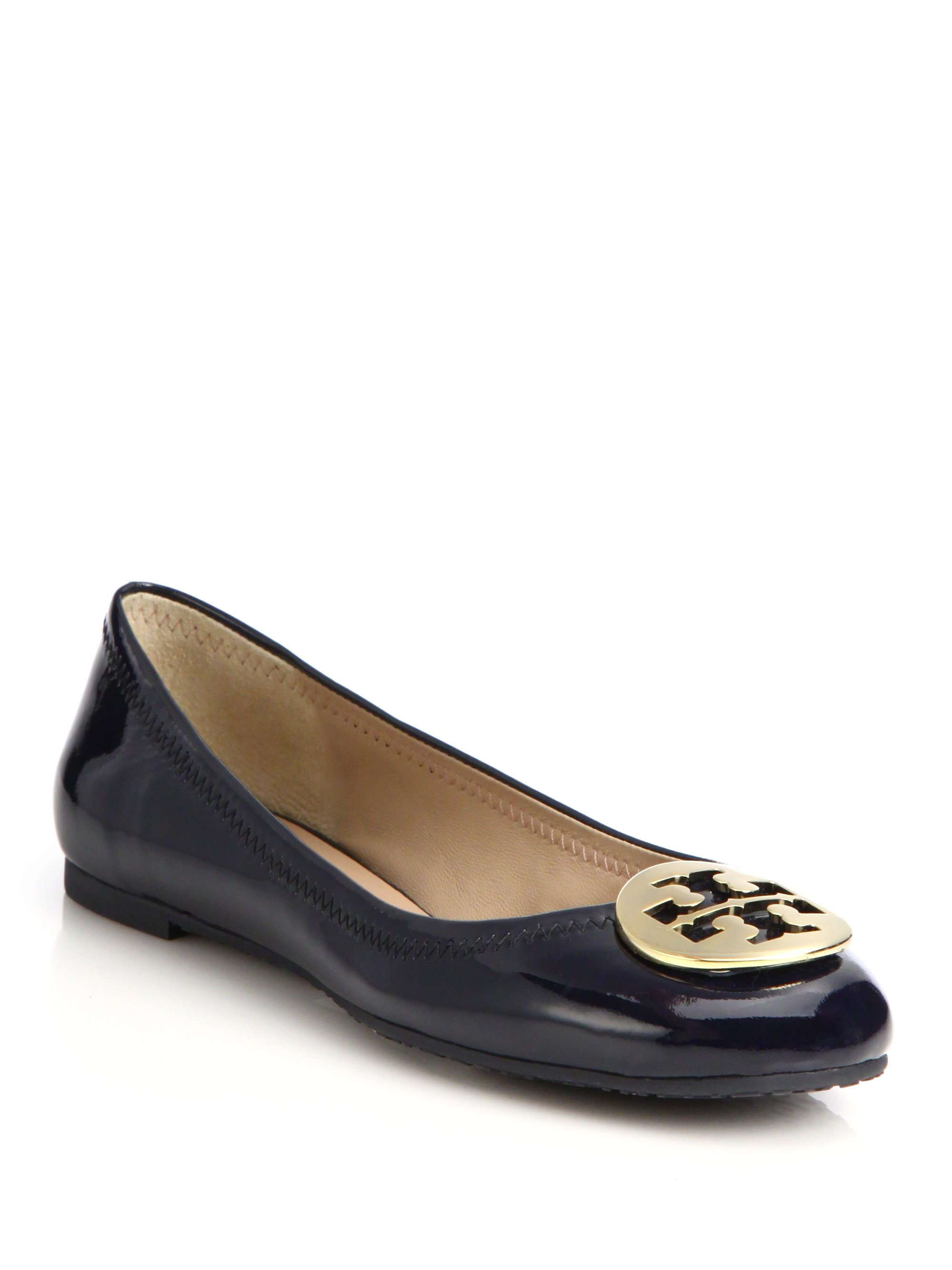 cbc3412aa29a7 Lyst - Tory Burch Reva Patent Leather Ballet Flats in Blue