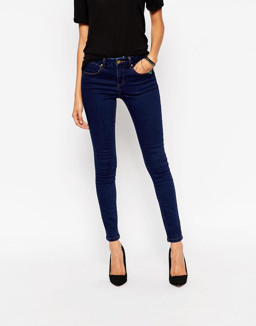 Asos 'sculpt Me' Premium Skinny Jeans In Tyne Dark Stonewash in ...