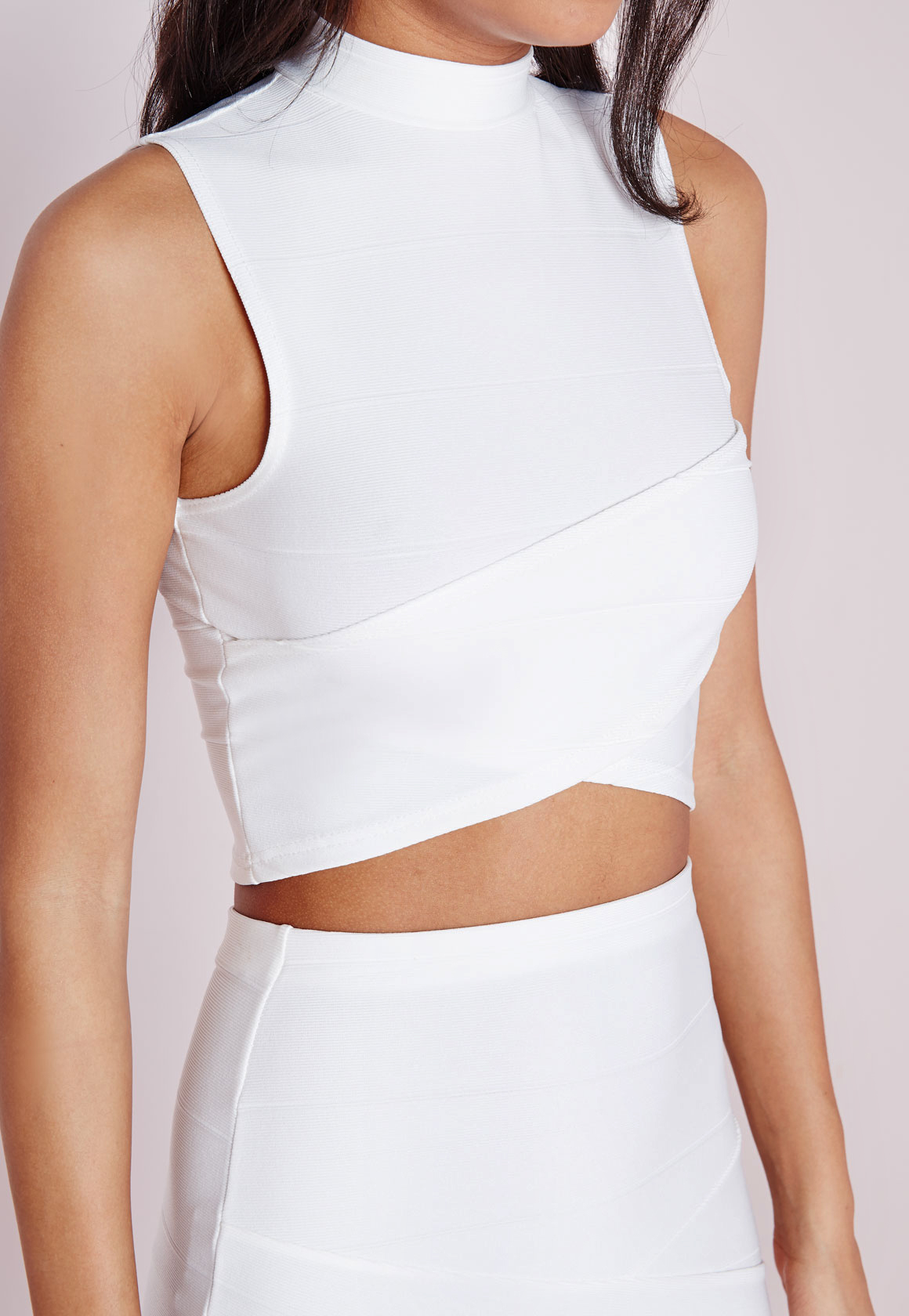 ebfab4de5209c Lyst - Missguided Bandage Wrap Over Sleeveless Crop Top White in White