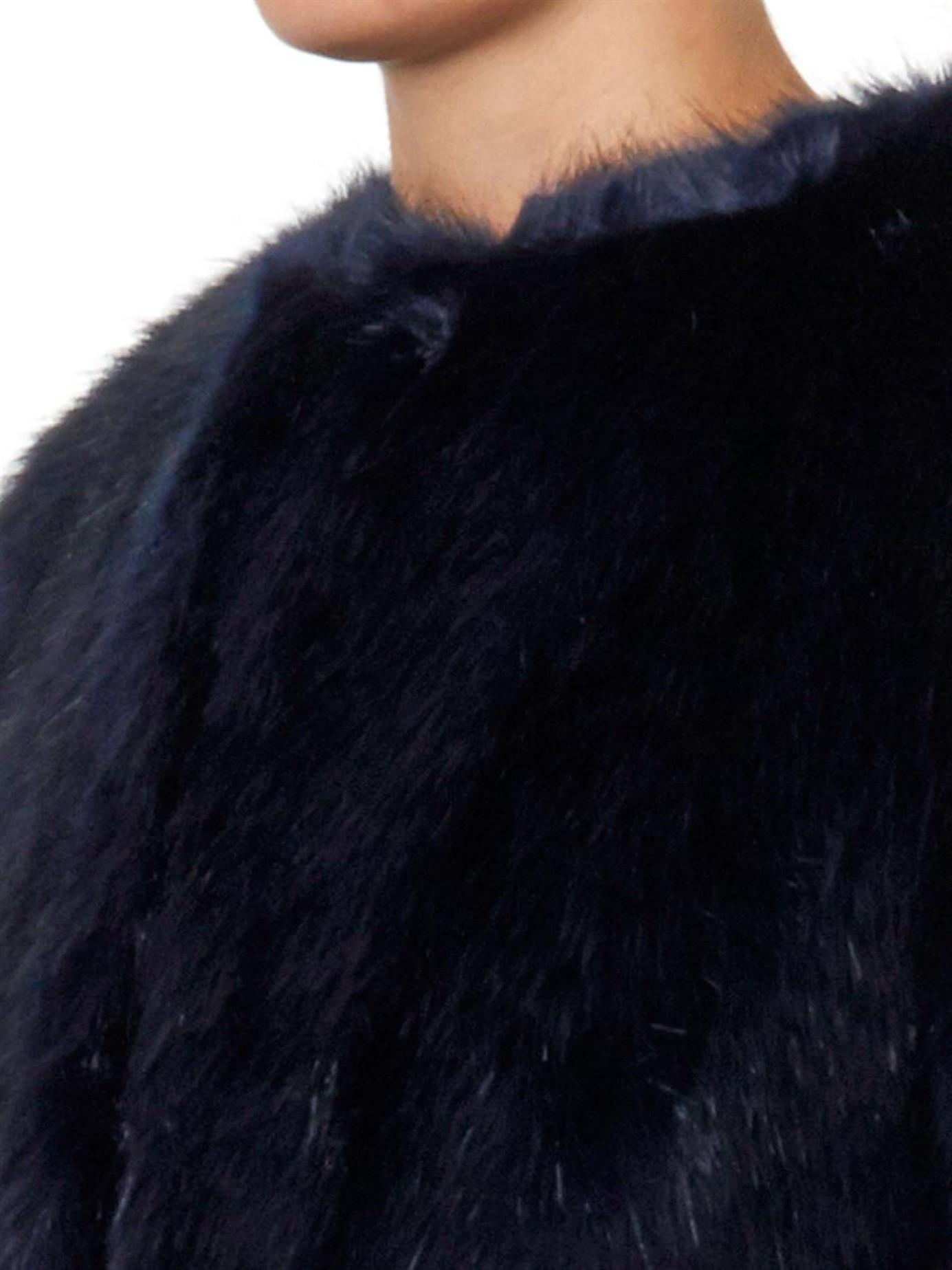 Shrimps Joseph Navy Faux-fur Coat in Blue | Lyst
