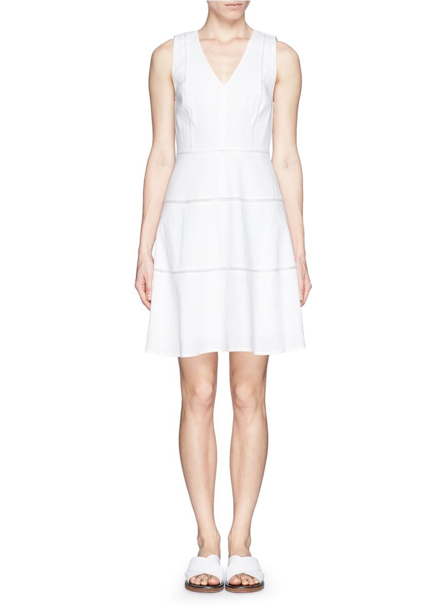 Theory Jemion Lace Insert Linen Blend Dress In White Lyst
