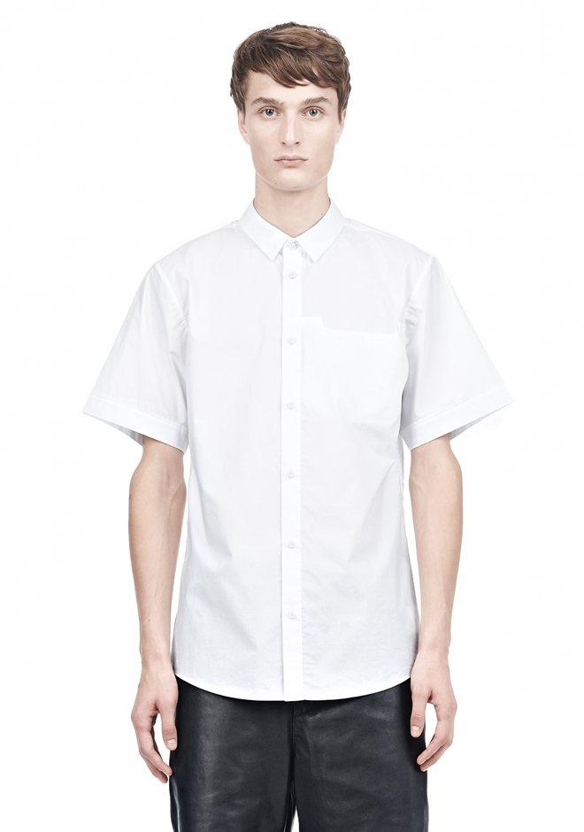 Alexander wang short sleeve button down shirt with inset for White short sleeve button down shirts for men