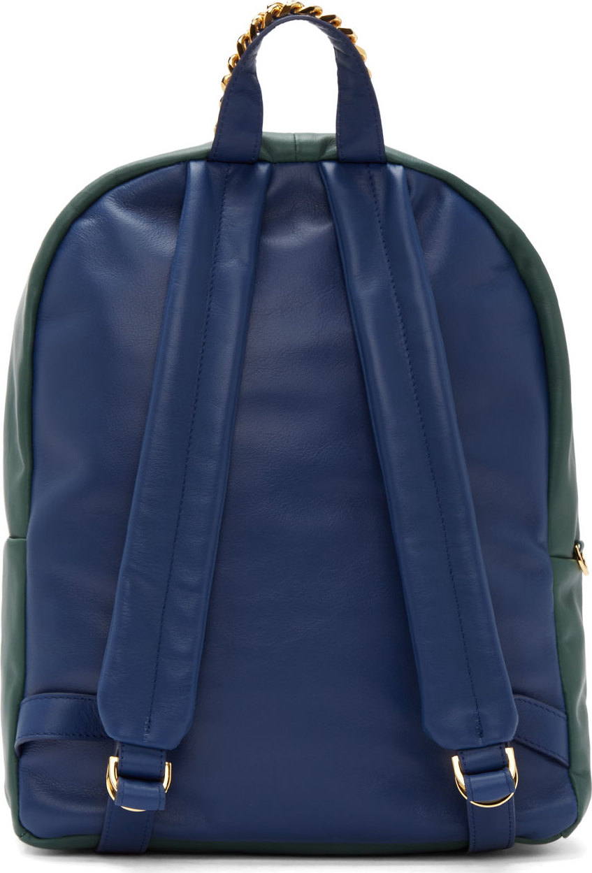 602c60632887 Lyst - Sophie Hulme Green and Blue Leather Backpack in Blue