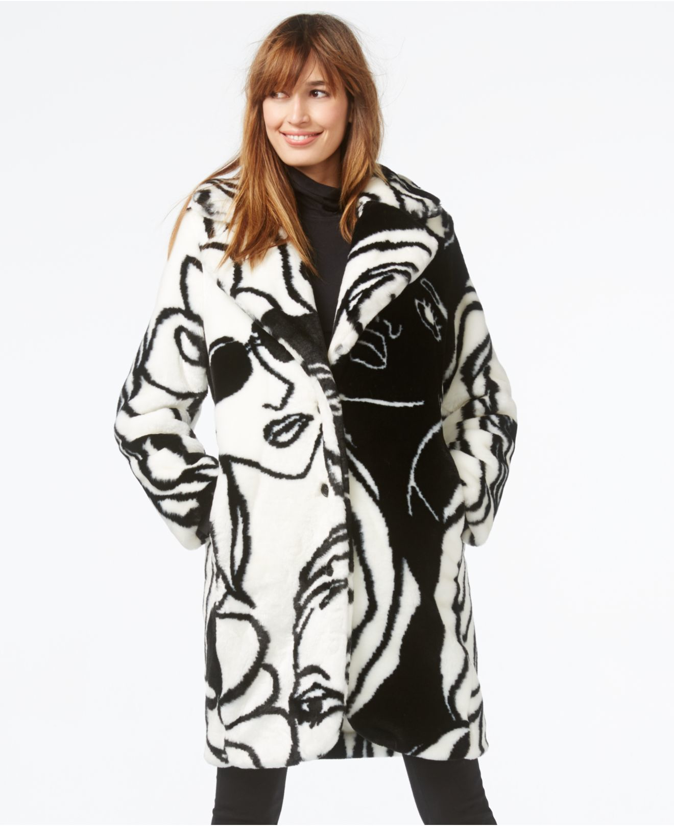 Dawn levy Faces Faux-fur Sketch-print Coat in White | Lyst
