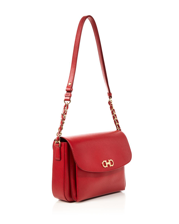 Ferragamo Large Sandrine Shoulder Bag in Red | Lyst
