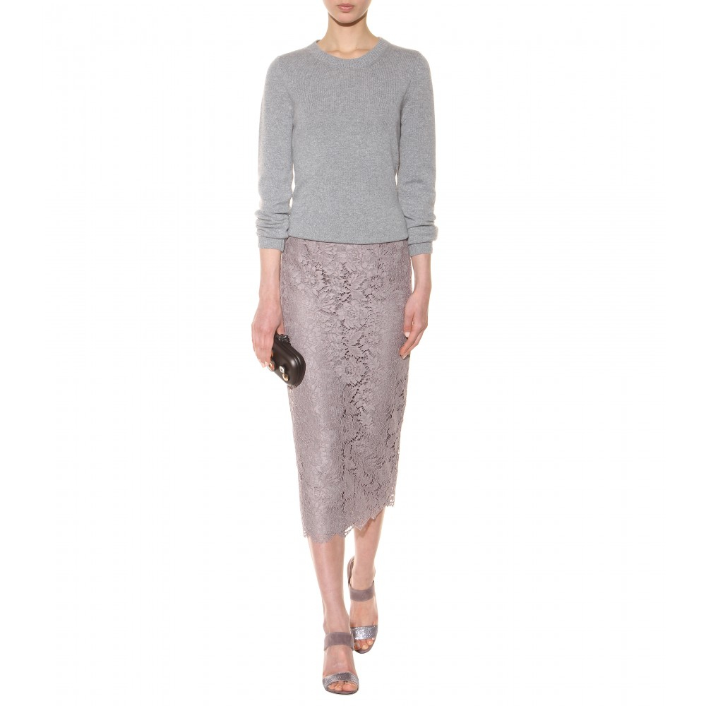 Valentino Lace Pencil Skirt in Purple | Lyst