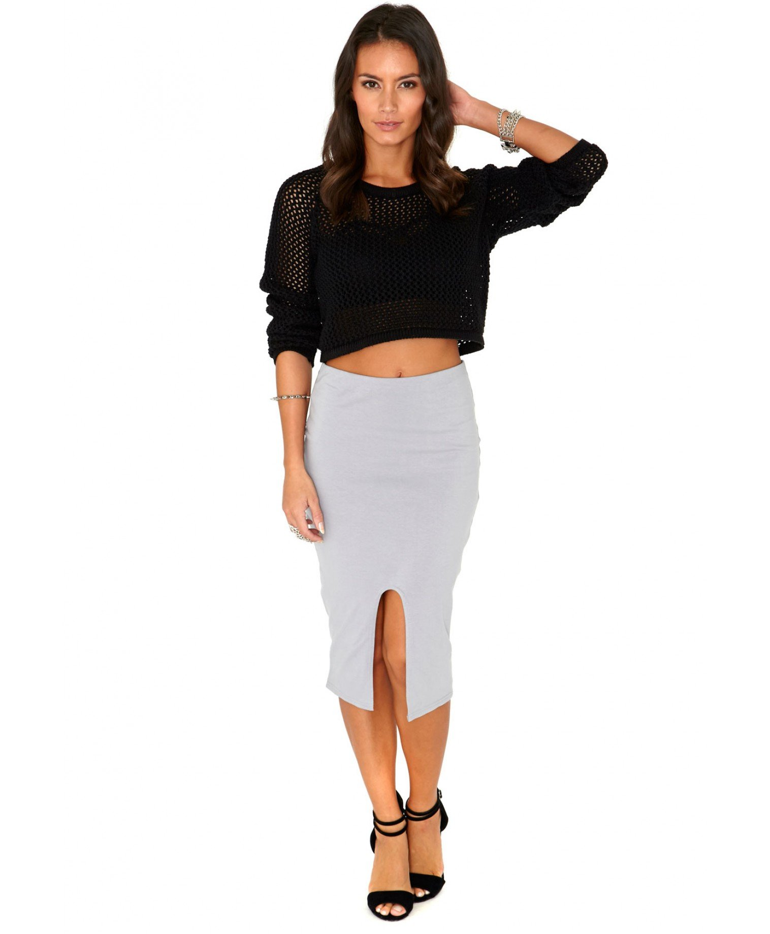 Missguided Terry Front Split Bodycon Midi Skirt In Grey in Gray | Lyst