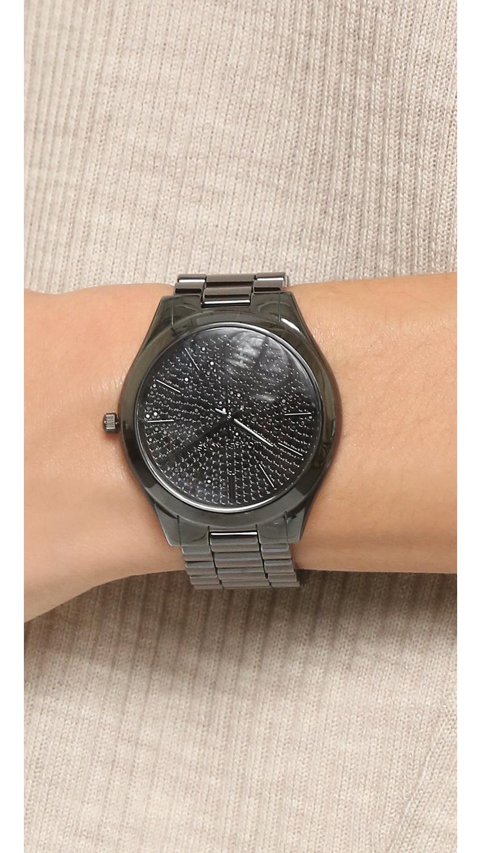 54aa12c4f6d2 Michael Kors Slim Runway Bracelet Watch Black - Alert Bracelet