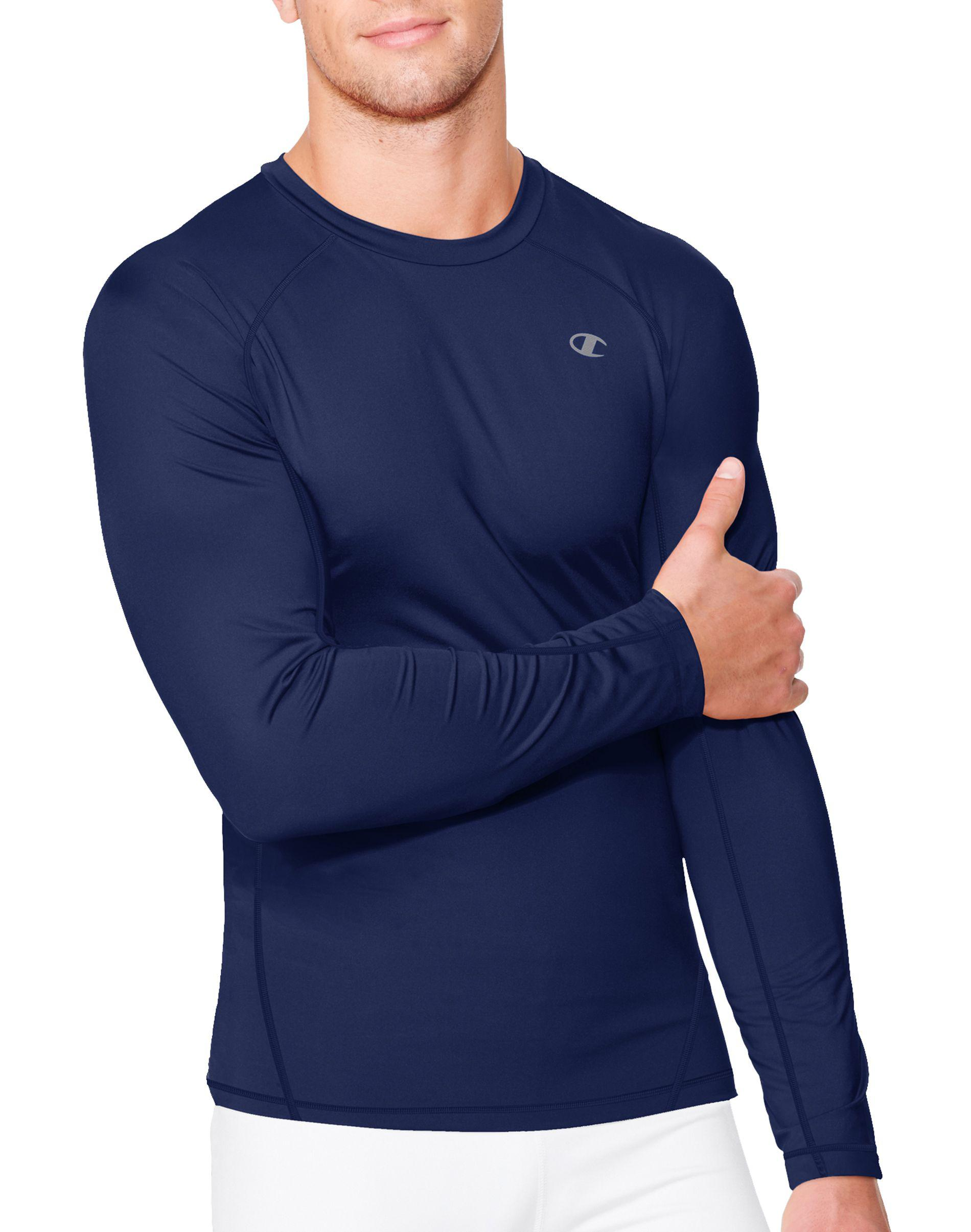 7f1eb0b76 Lyst - Champion Double Dry® Long-sleeve Compression T Shirt in Blue ...