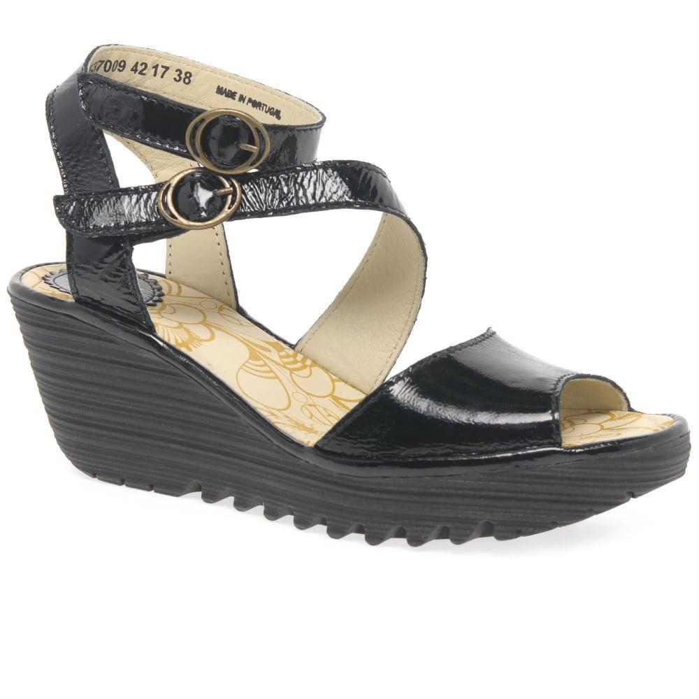 71f0c07a4da Fly London Yisk Womens Wedge Heel Sandals in Black - Lyst