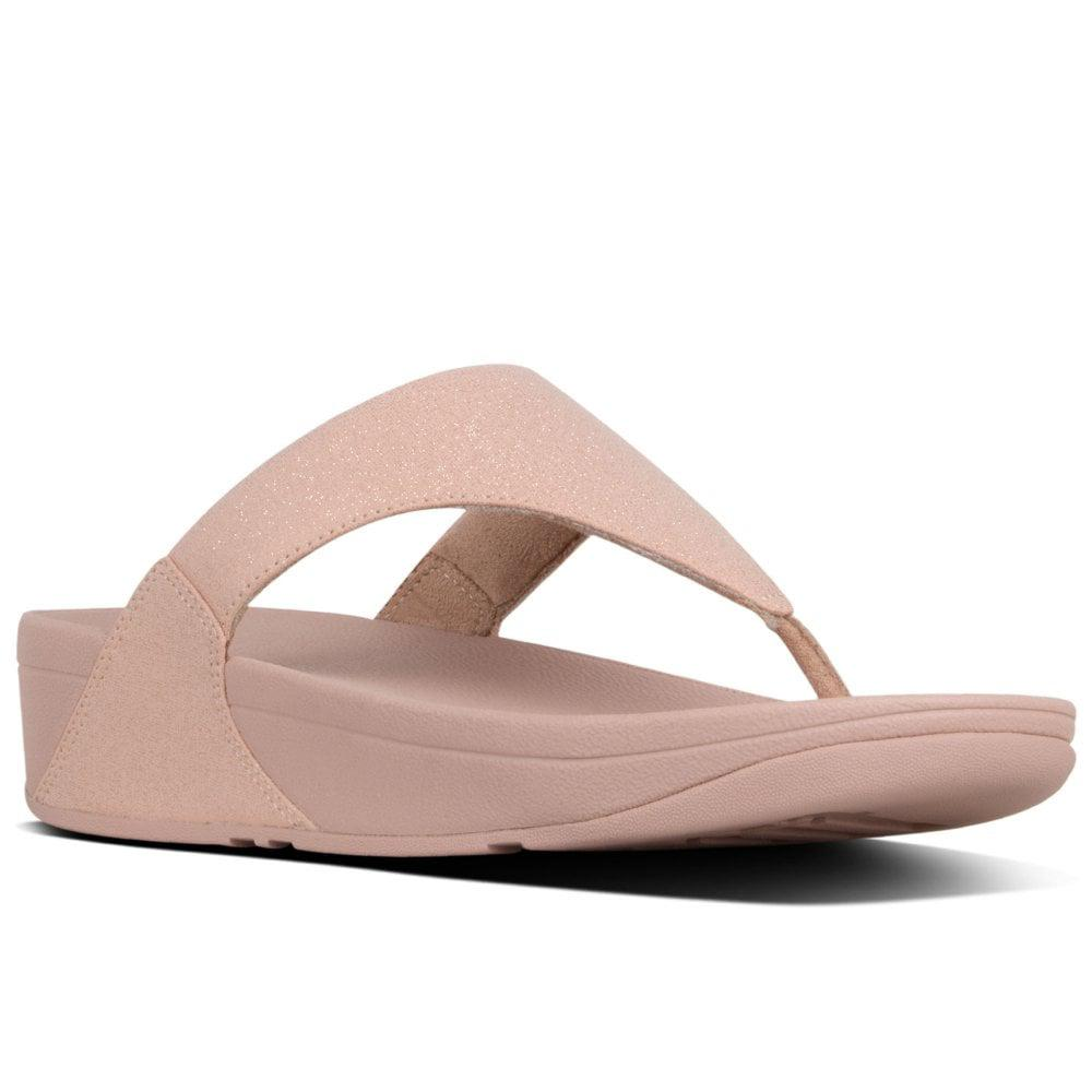 cc06185ea0b148 Lyst - Fitflop Lulu Shimmer Womens Toe Post Sandals in Pink