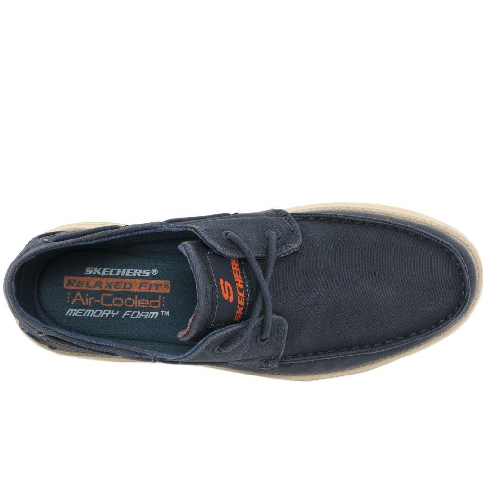 ef4dd9cdd187 Lyst - Skechers Status Melec Mens Vintage Wash Boat Shoes in Blue ...