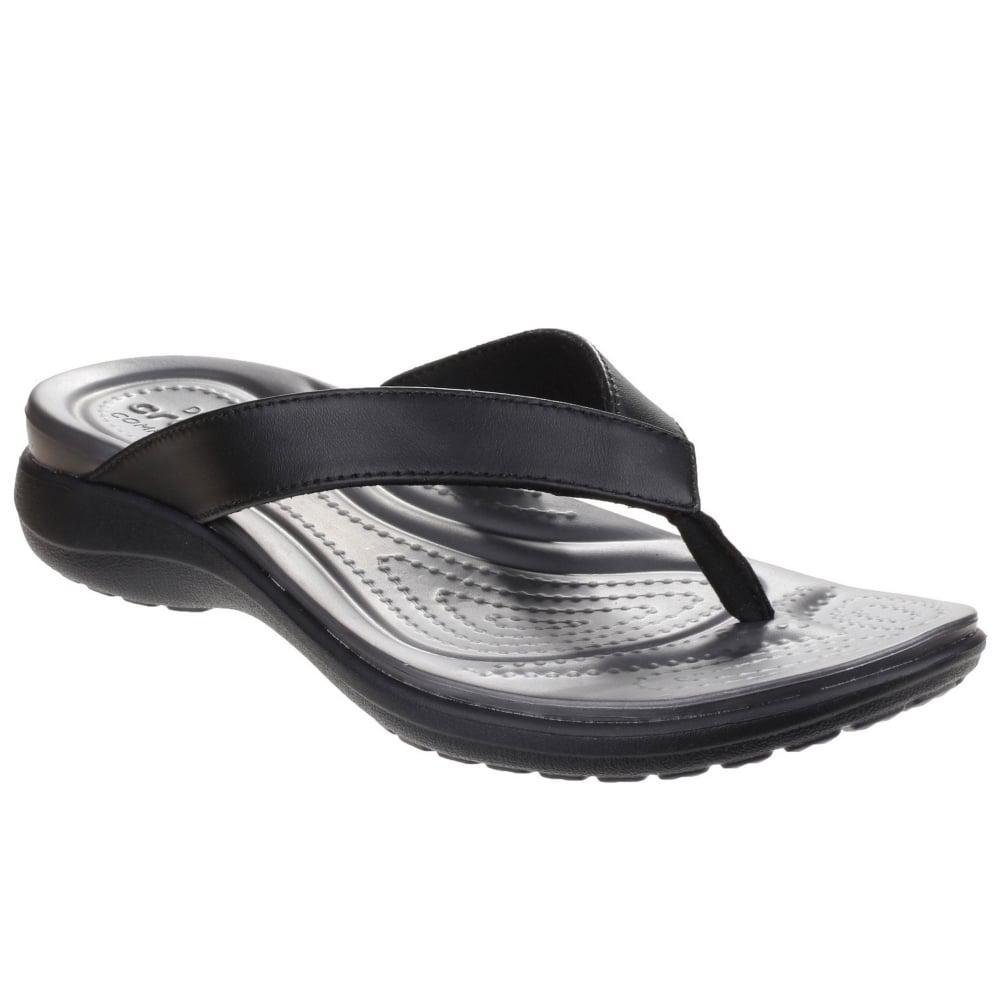 209ef6485 Lyst - Crocs™ Capri V Flip Womens Toe Post Sandals in Black