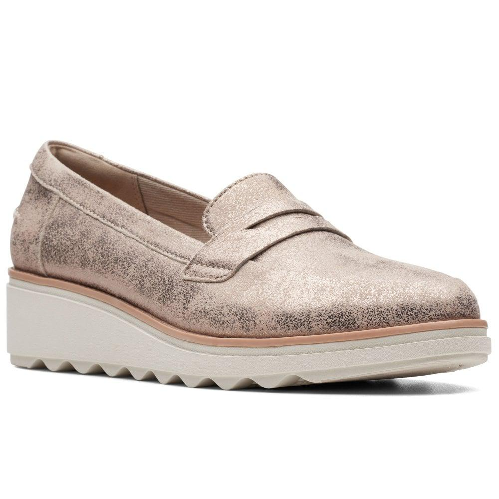 cb00d6d57db Lyst - Clarks Sharon Ranch Womens Wedge Heel Penny Loafers