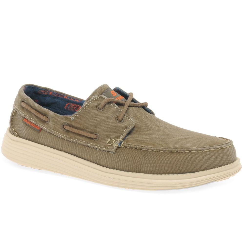 0a1fca86cfe6 Lyst - Skechers Status Melec Mens Vintage Wash Boat Shoes in Brown ...