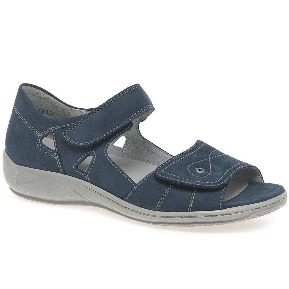 a4c2961f Waldläufer Kansas Womens Wide Fit Leather Sandals in Blue - Lyst