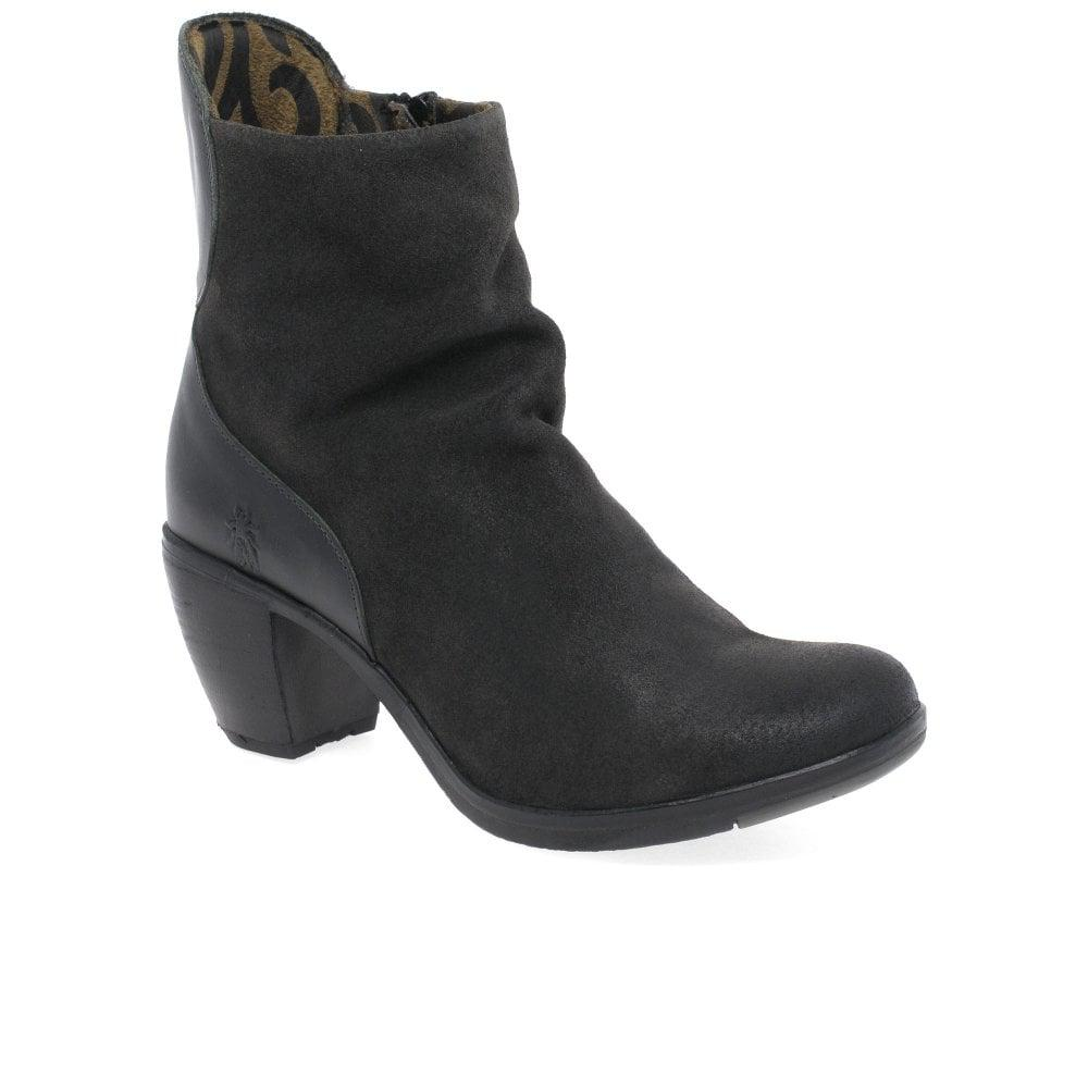 9ff3371ce964 Lyst - Fly London Hota Womens Suede High Heeled Ankle Boots in Black
