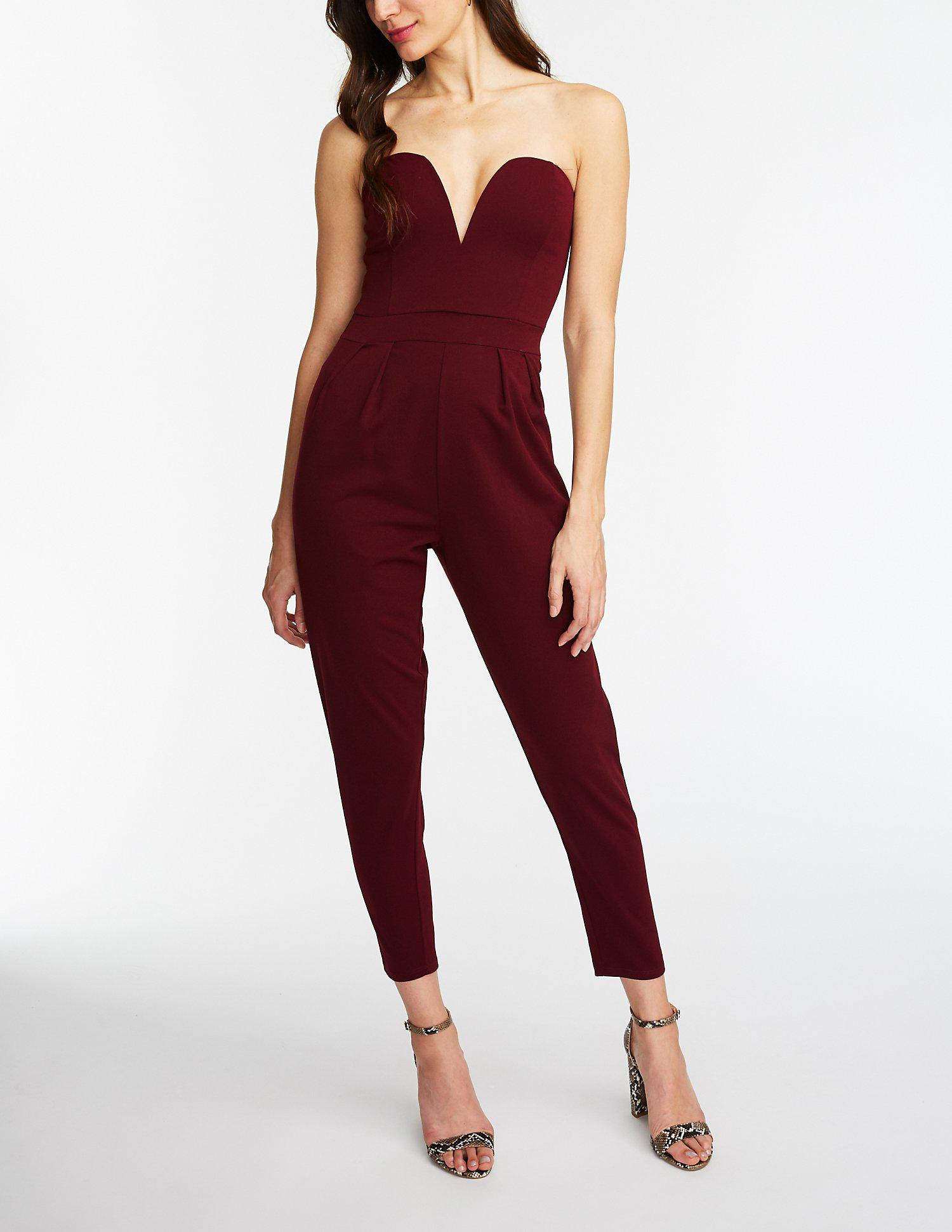 3d935694e0e5 Lyst - Charlotte Russe V Wired Jumpsuit in Red