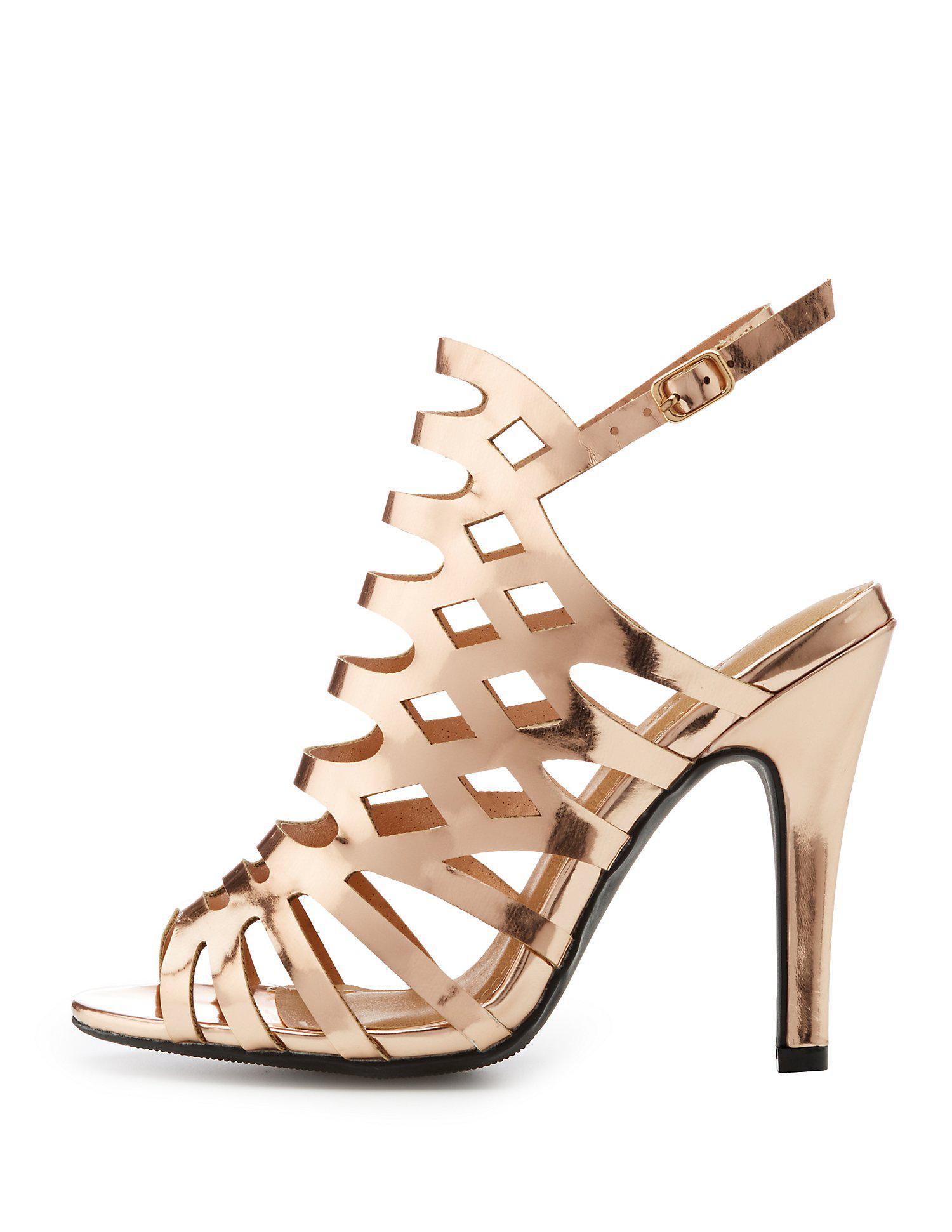 67a6c461a20f Lyst - Charlotte Russe Wide Width Laser Cut Dress Sandals
