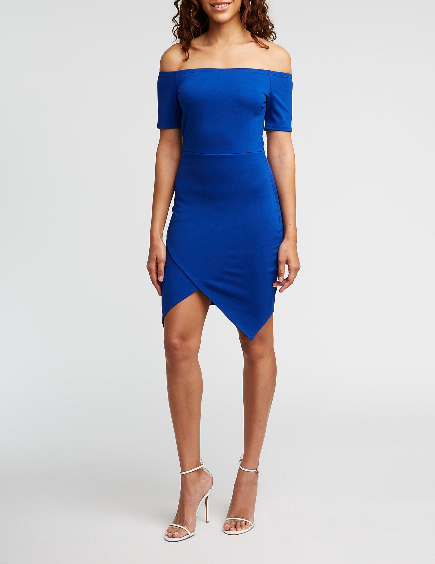 07834752d9a Lyst - Charlotte Russe Off The Shoulder Bodycon Dress in Blue