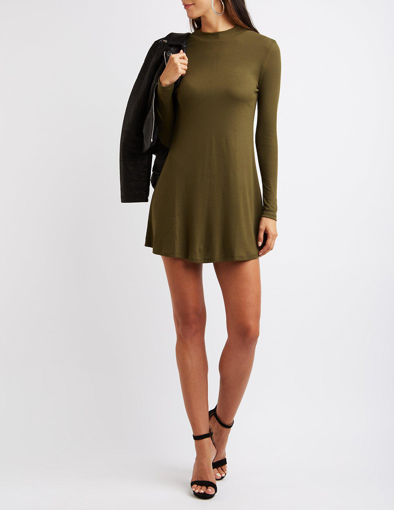c9e12e24e4a8 Lyst - Charlotte Russe Ribbed Mock Neck Swing Dress in Green