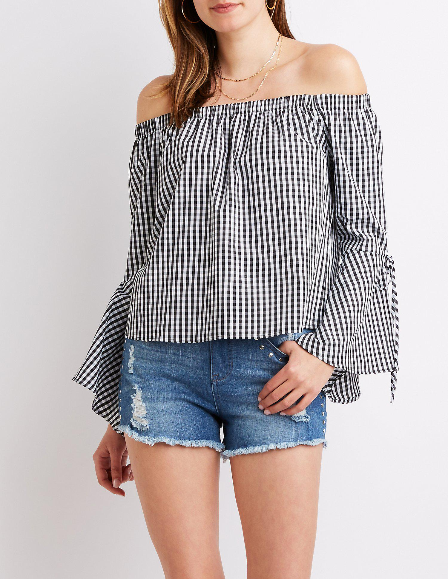 a8a7877e9d7 Lyst - Charlotte Russe Gingham Off-the-shoulder Top in Blue