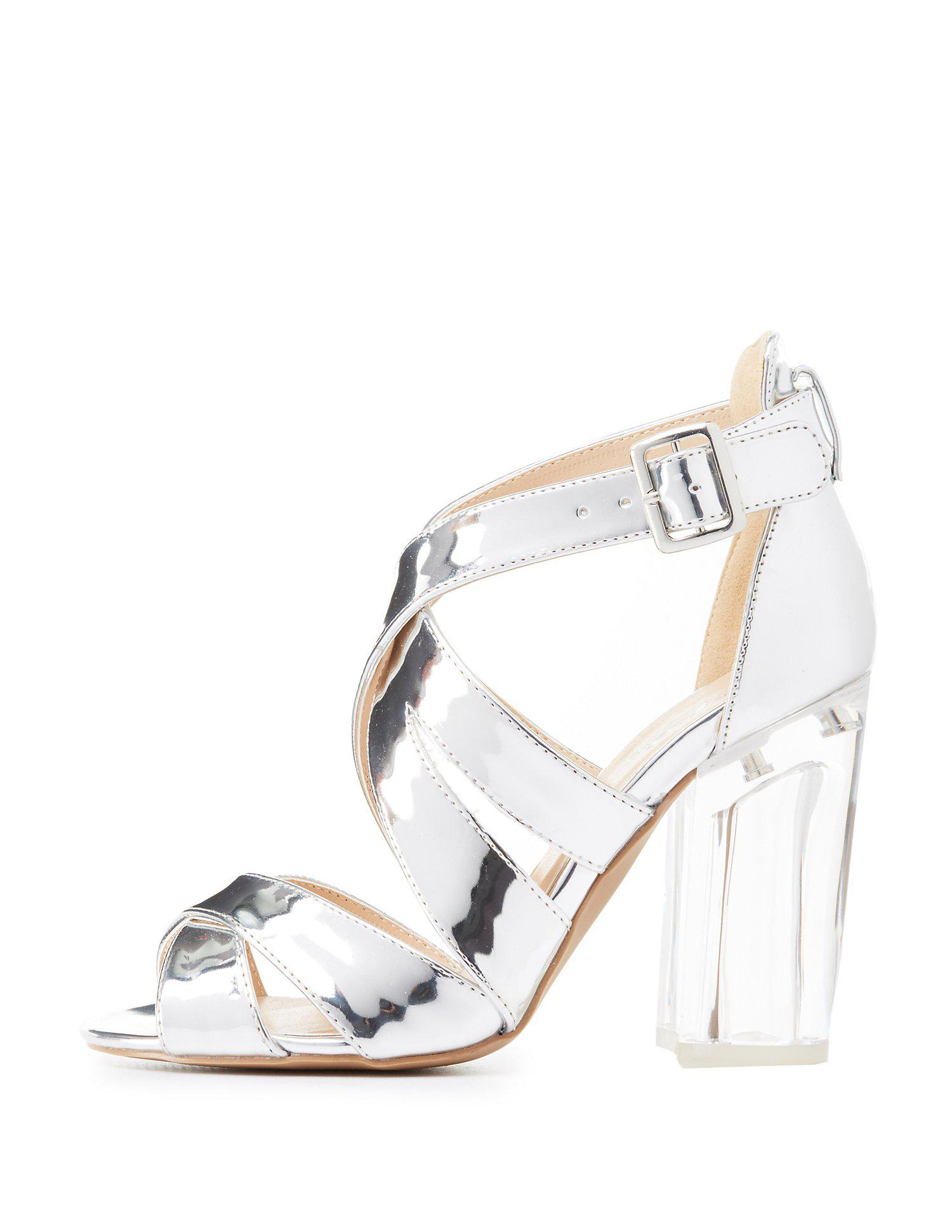 45ed100df7a Lyst - Charlotte Russe Qupid Metallic Lucite Heel Sandals in Metallic