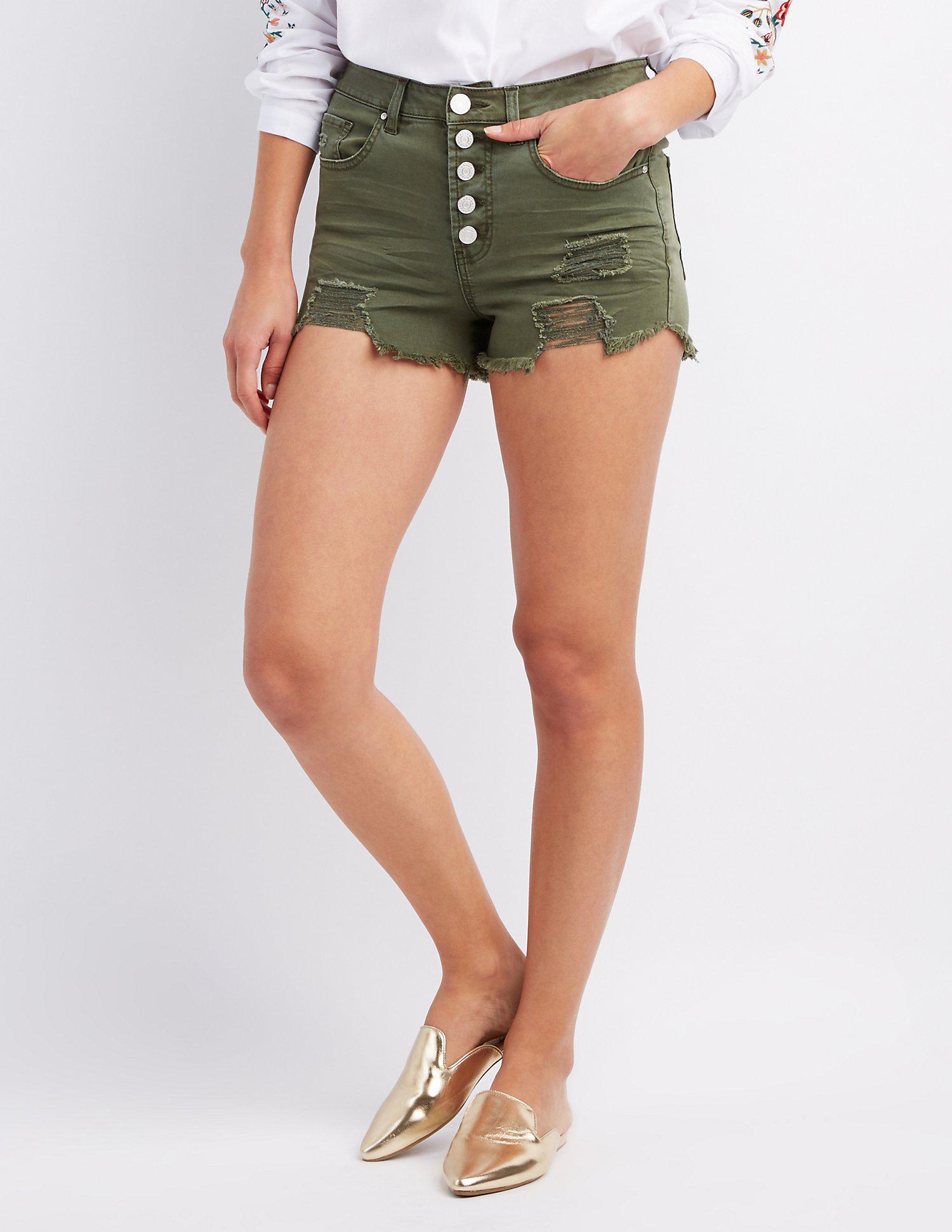f97c75b846 Charlotte Russe. Women's Green Refuge Destroyed Hi-rise Cheeky Denim Shorts