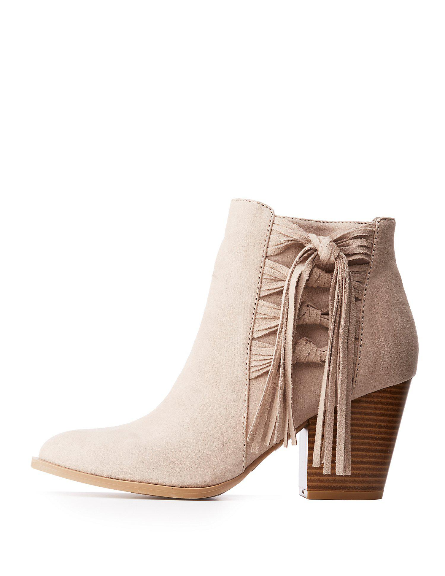47b6a100a7a3 Lyst - Charlotte Russe Fringe Accented Ankle Booties