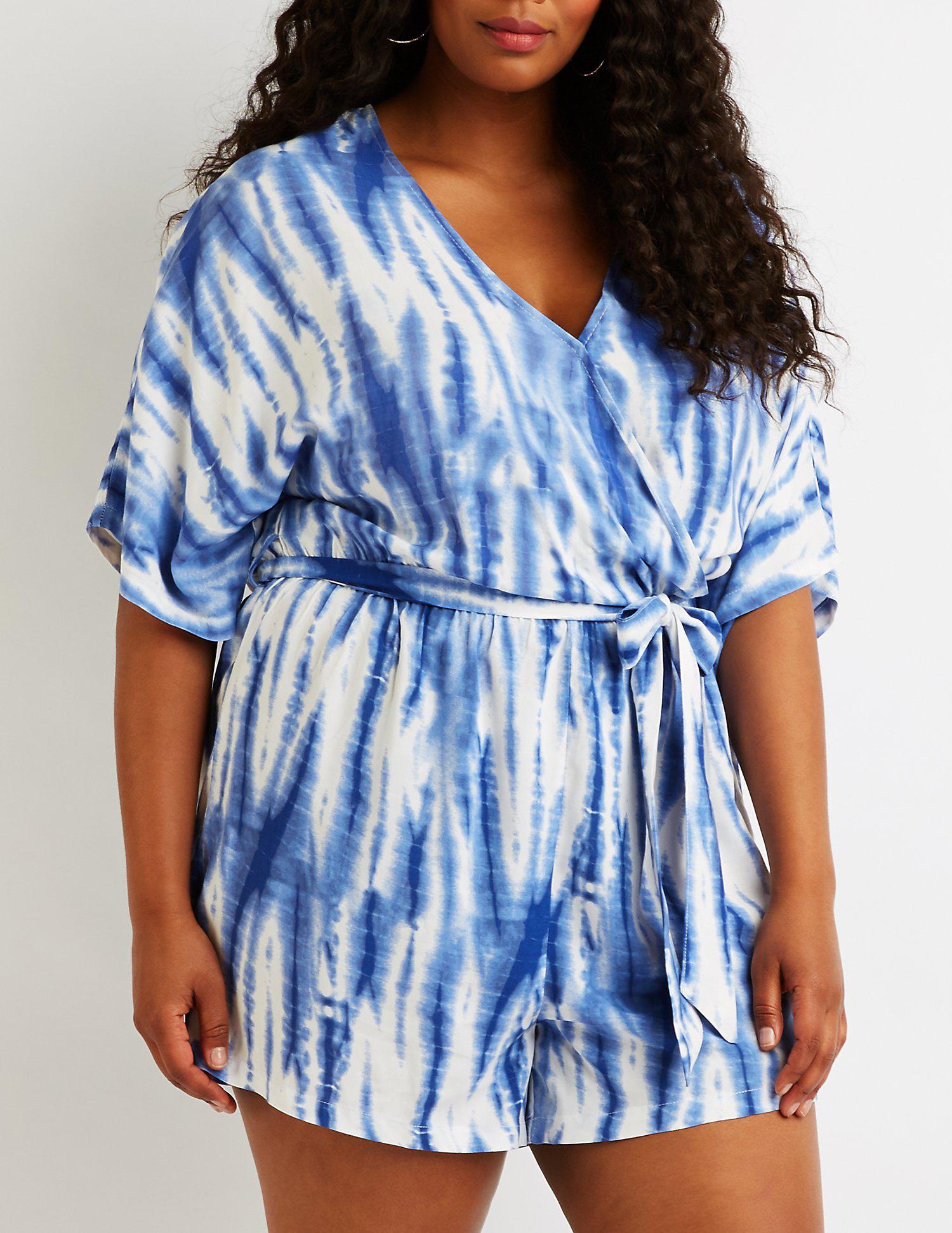 dca10de2b5aa Lyst - Charlotte Russe Plus Size Tie Dye Wrap Romper in Blue - Save ...