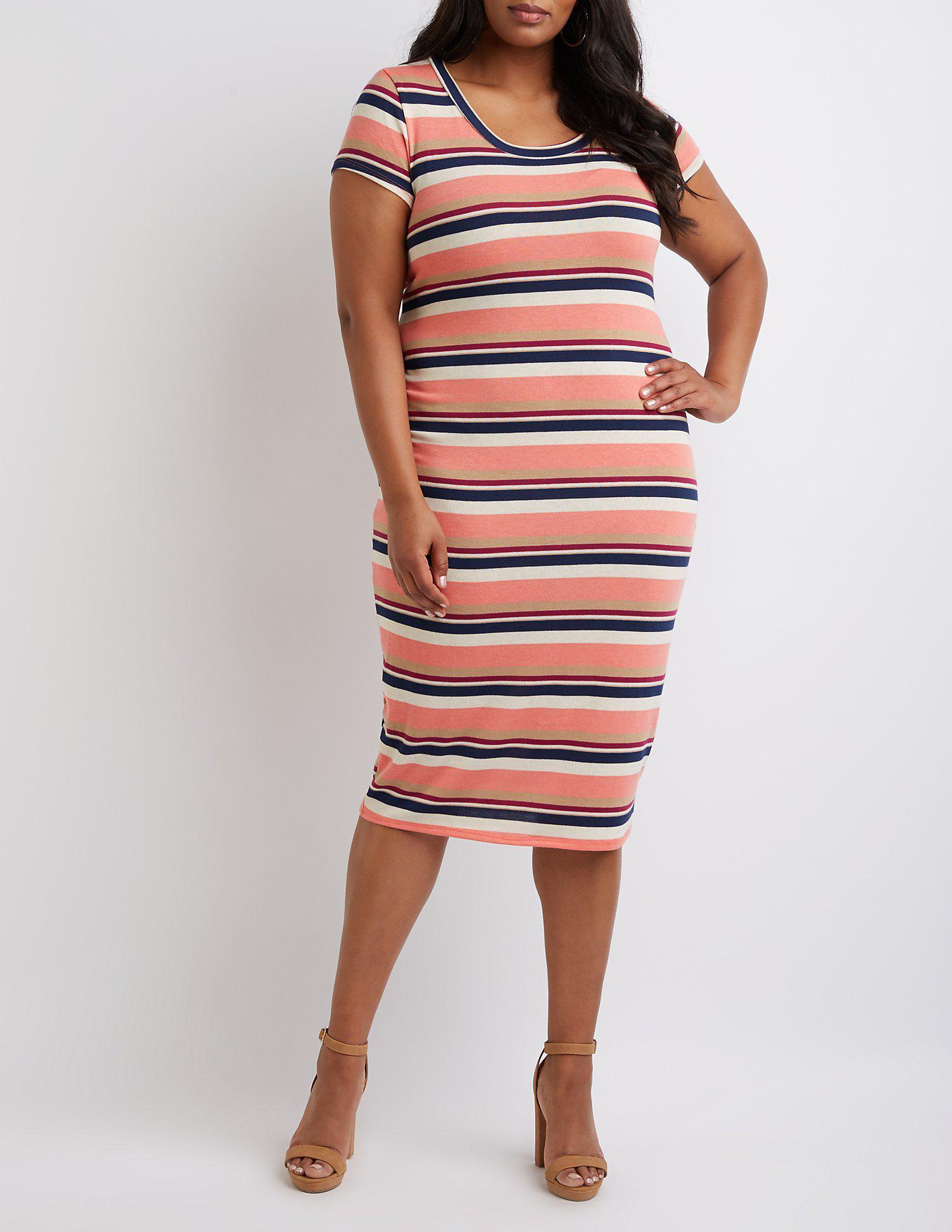 eaccd7f40c4 Lyst - Charlotte Russe Plus Size Striped Shirt Dress in Orange