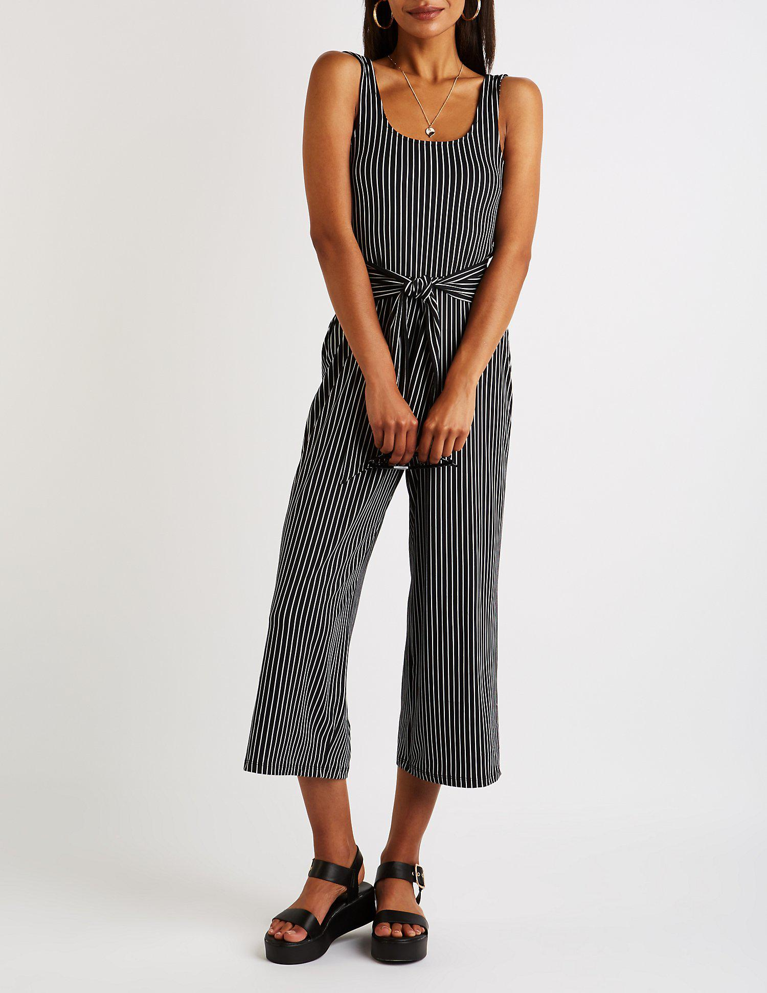 460a58b377ba Lyst - Charlotte Russe Striped Scoop Neck Cropped Jumpsuit in Black