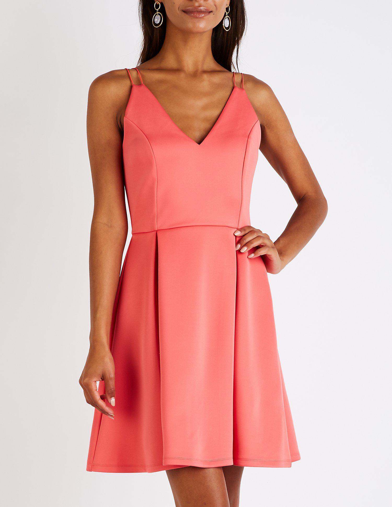 6b1a52a4d1 Lyst - Charlotte Russe V Neck Skater Dress in Pink