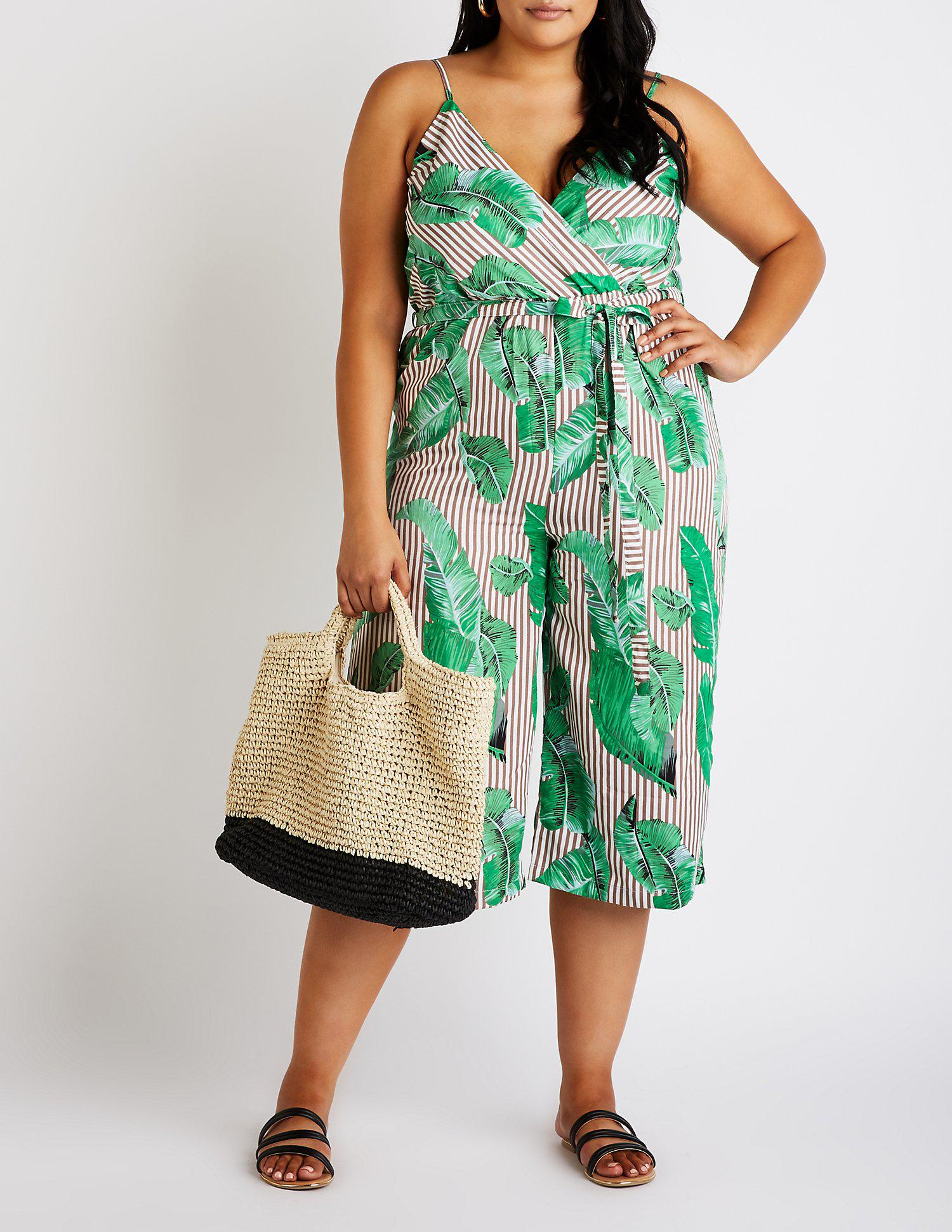 a85ee04f9e5 Lyst - Charlotte Russe Plus Size Striped Wrap Jumpsuit in Green