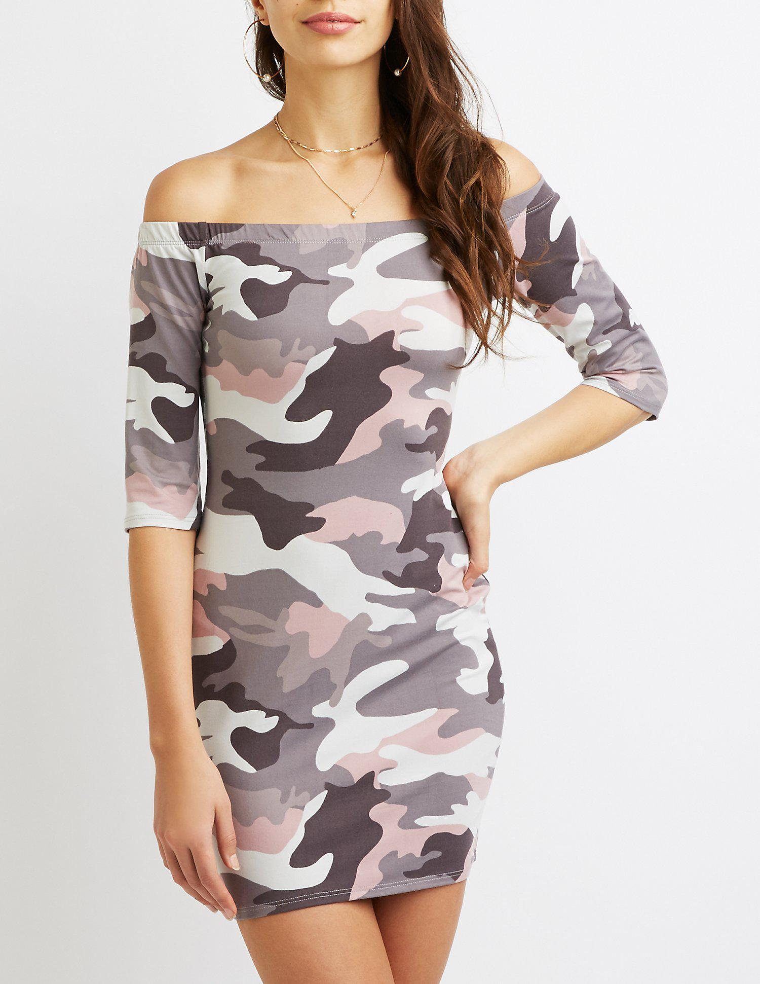 66e42073eda Lyst - Charlotte Russe Printed Off-the-shoulder Bodycon Dress in Gray