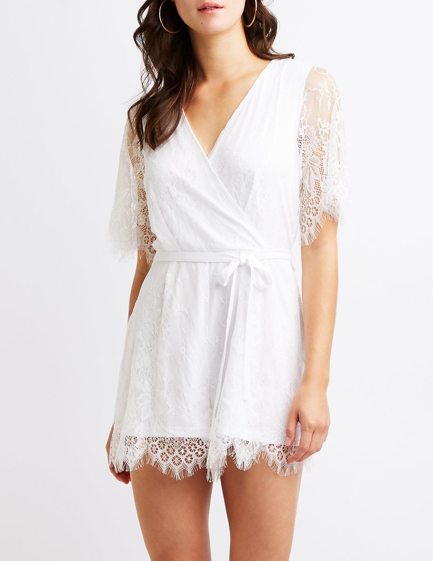 8fdbeb9c65a8 Lyst - Charlotte Russe Floral Lace Wrap Romper in White