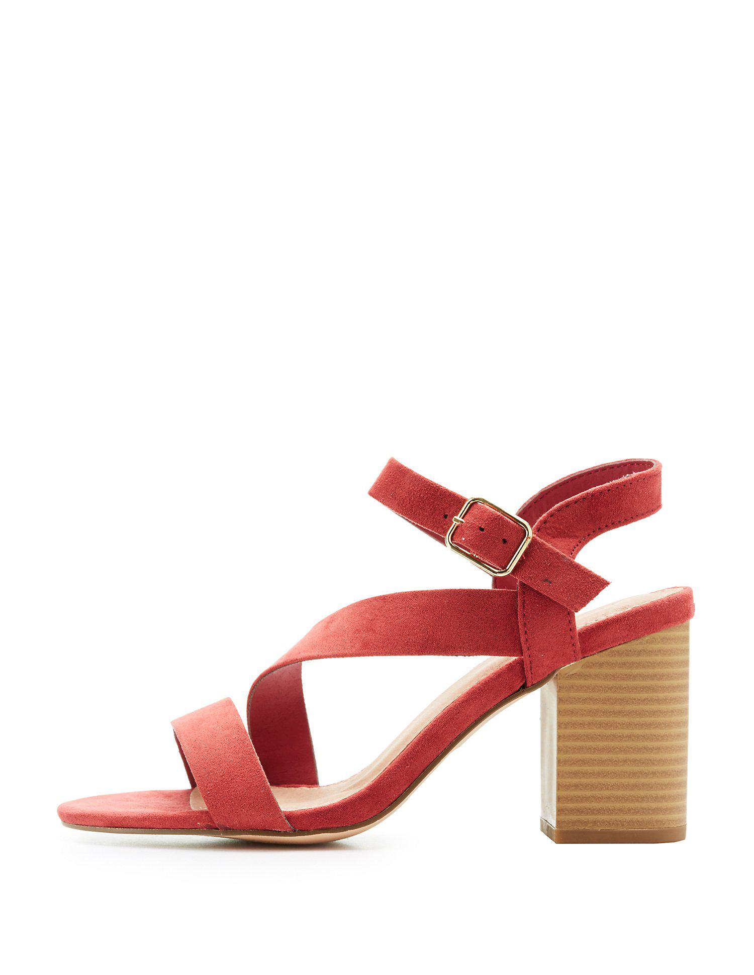 8e82f39bb84 Lyst - Charlotte Russe Strappy Block Heel Sandals in Red