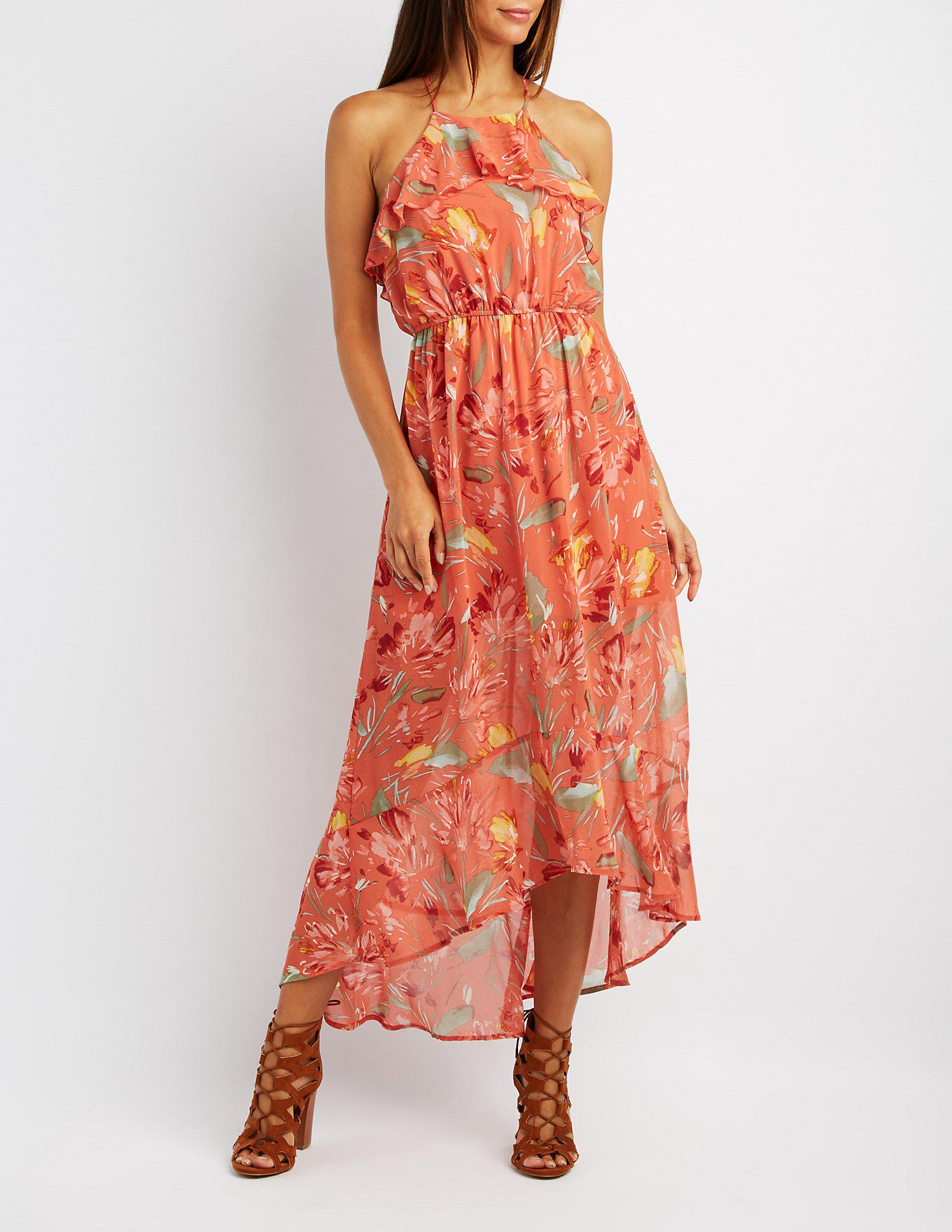e99feb268a0f Lyst - Charlotte Russe Floral Ruffle Bib Neck Maxi Dress in Orange