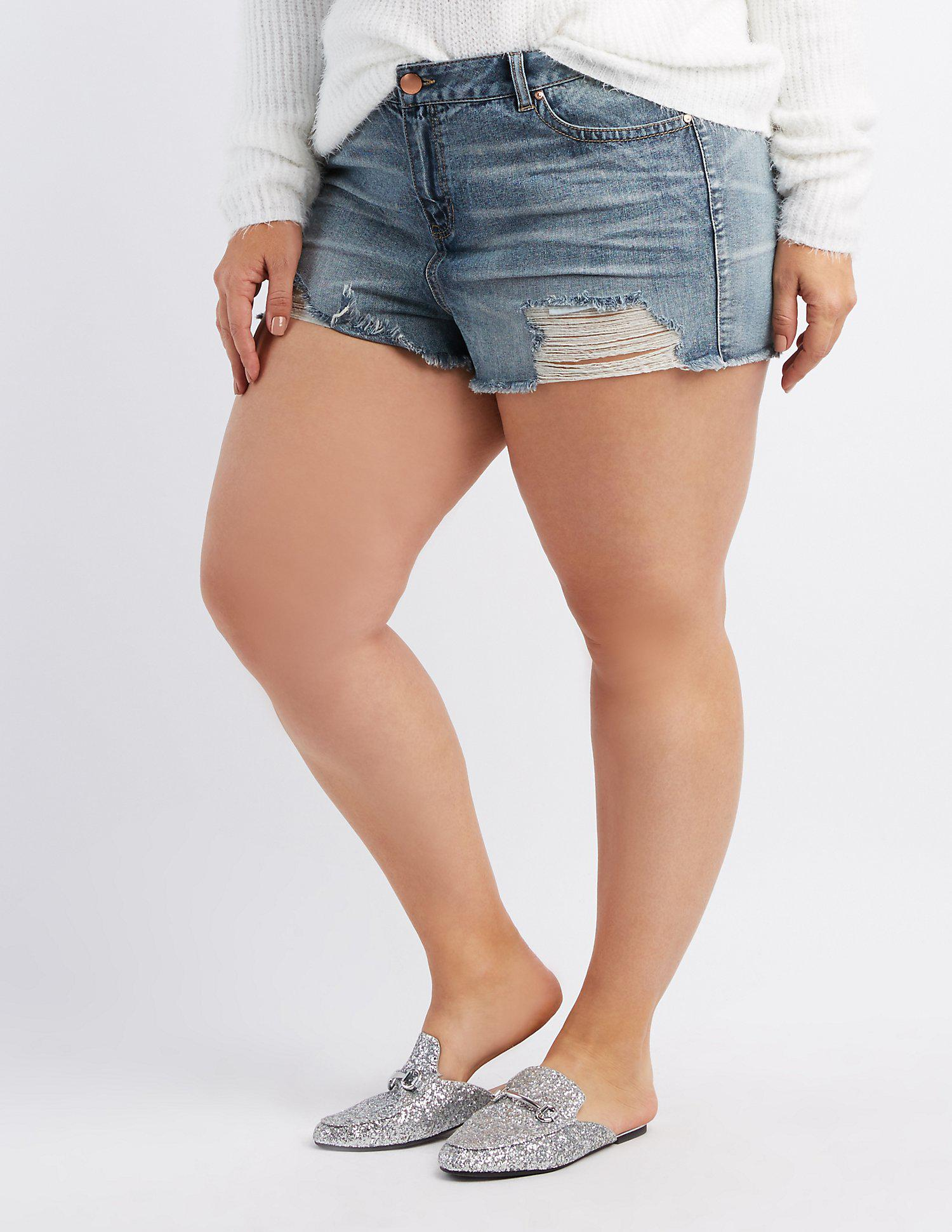 f251944f1b Lyst - Charlotte Russe Plus Size Refuge Destroyed Hi-rise Cheeky ...