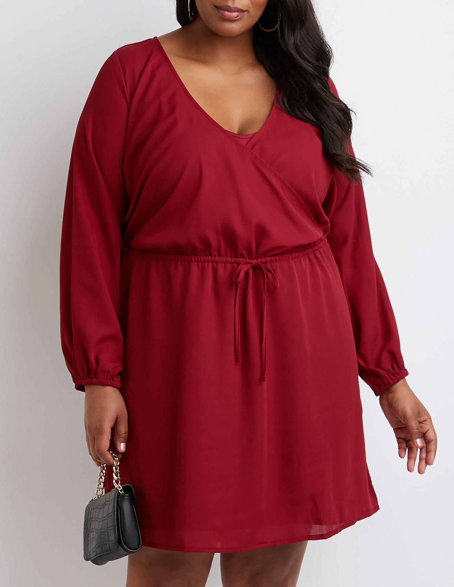 Lyst - Charlotte Russe Plus Size Keyhole Wrap Dress in Red
