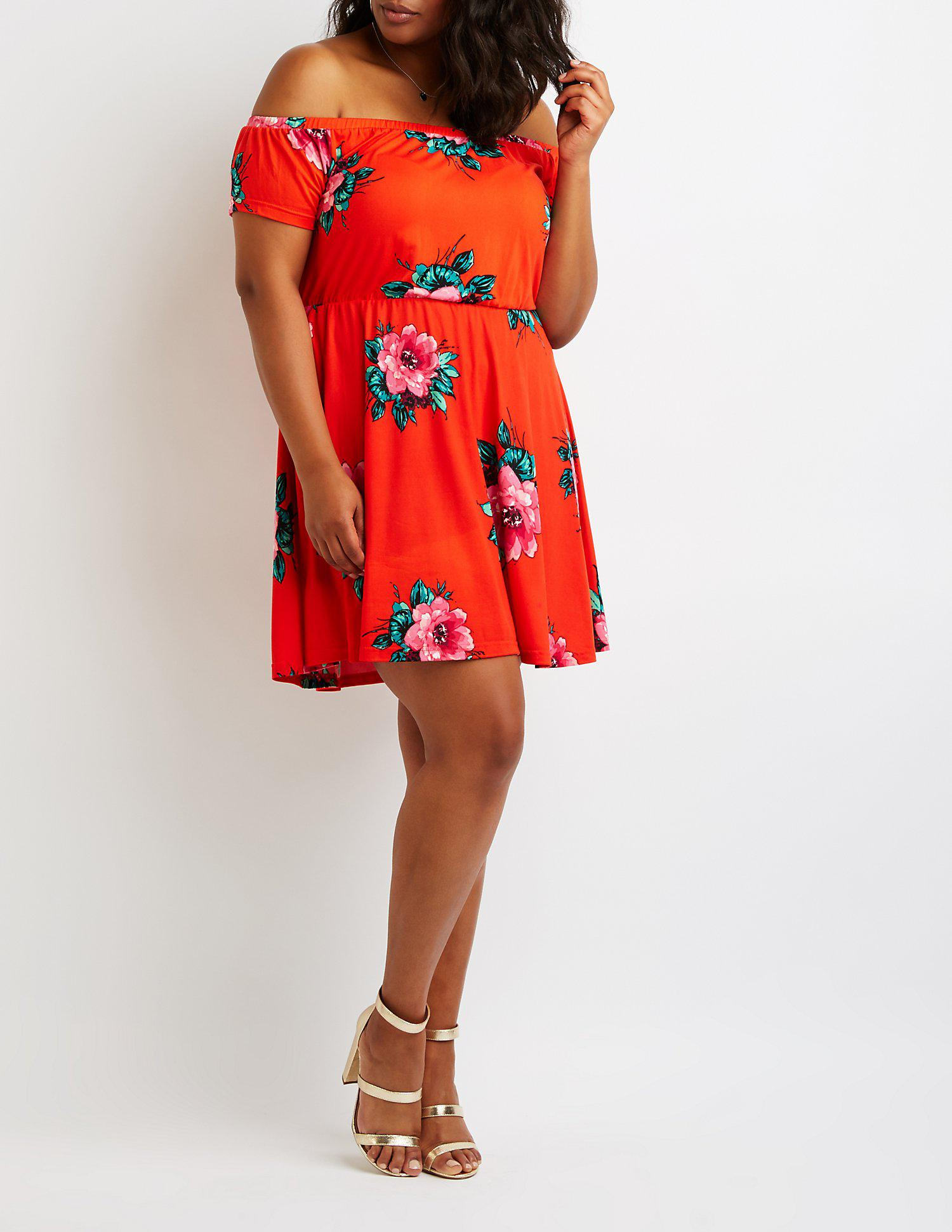 Lyst - Charlotte Russe Plus Size Floral Off The Shoulder Dress in Red