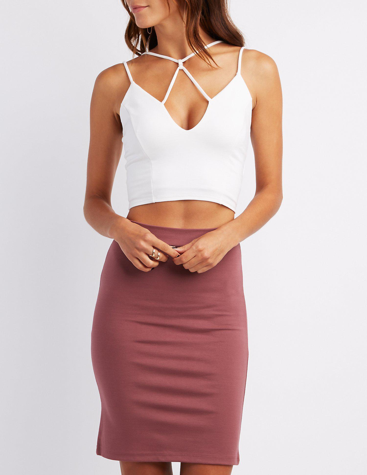 f1ab6bf0f01 Lyst - Charlotte Russe Strappy Caged Crop Top in White