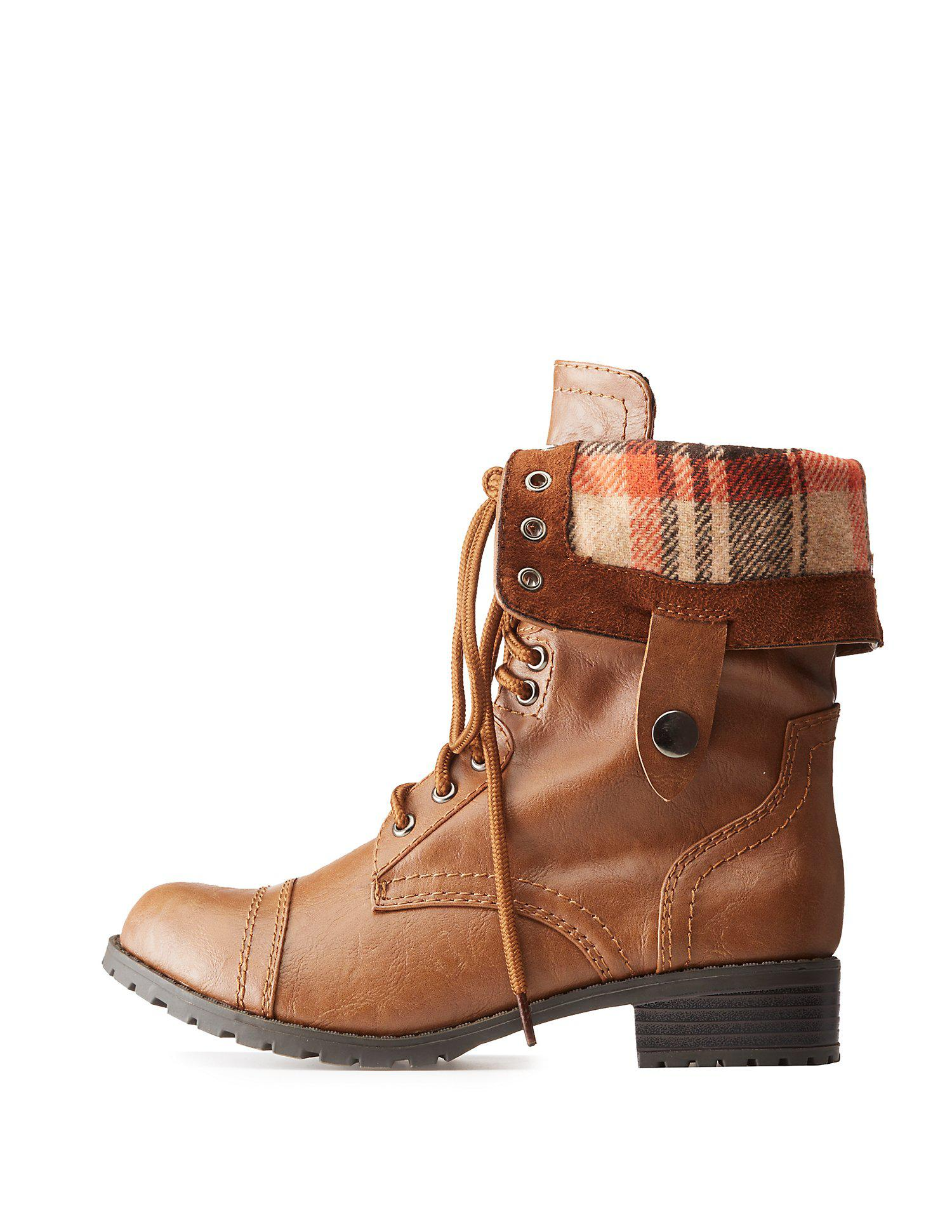1205a57cb Lyst charlotte russe plaid fold over combat boots in brown jpg 1500x1941  Fold over boot charlotte