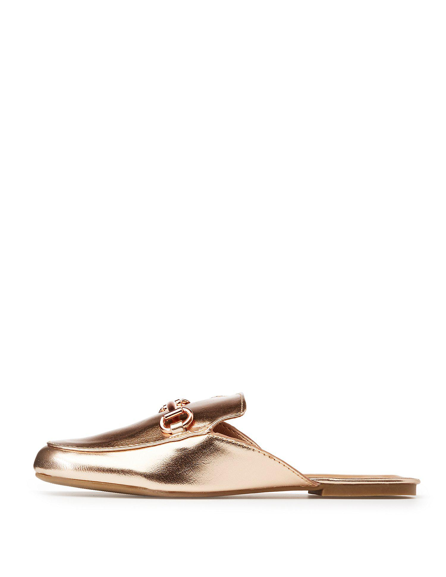 2ace4054029 Lyst - Charlotte Russe Bamboo Metallic Metal Buckle Loafer Mules in ...