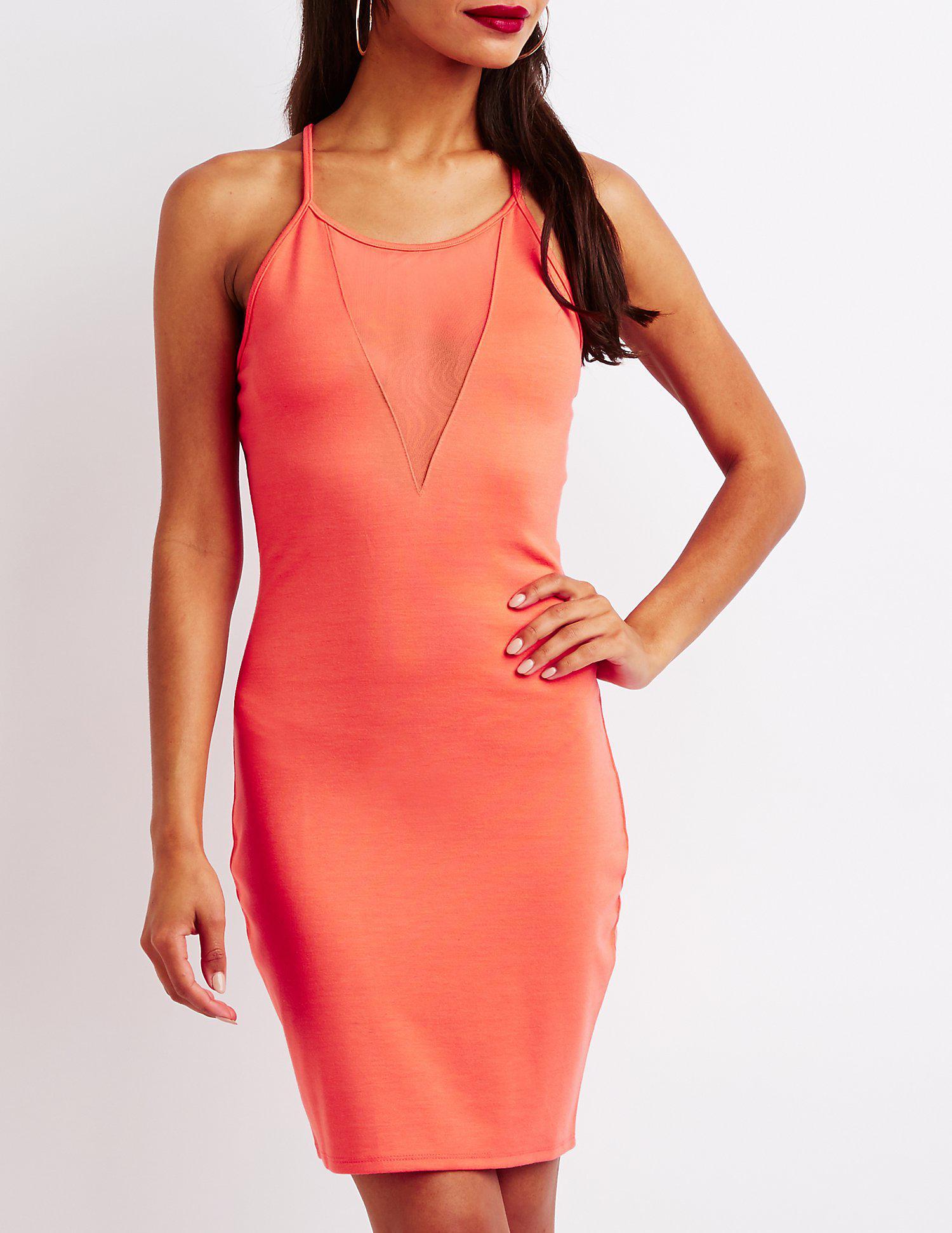 8f61ba0257c Lyst - Charlotte Russe Mesh Inset Bodycon Dress